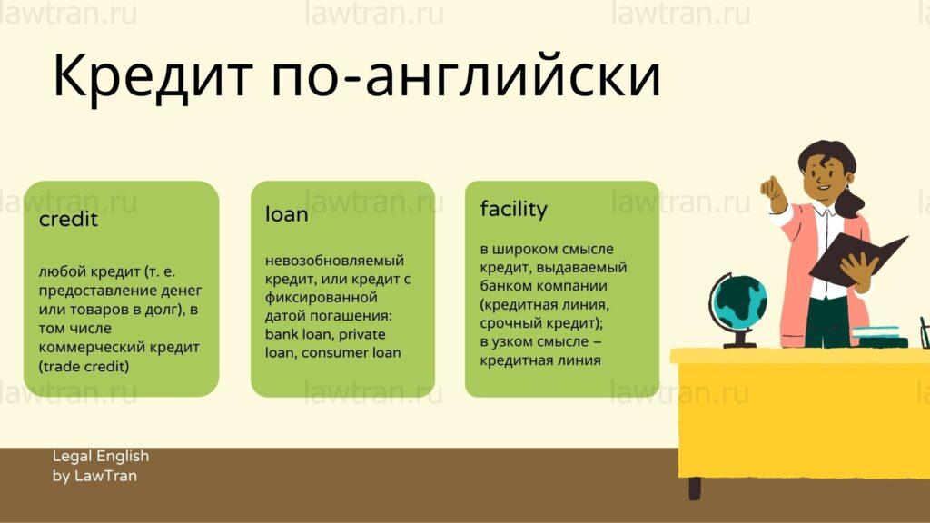 Кредит по-английски: credit, loan или facility?